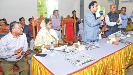 Sayem Sobhan Anvir Speaks at a Programme Marking the Launch of a Press Unit of EWMGL in Bogura