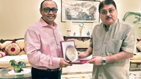 Ahmed Akbar Sobhan, Chairman of Bashundhara Group, receives a crest